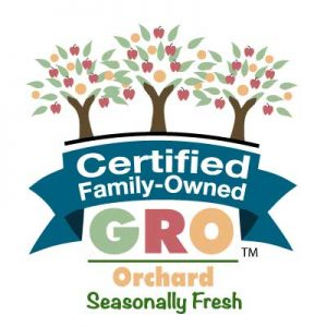 Seasonally Fresh Certified Family Owned GRO mark - Orchard edition